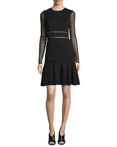 Long-Sleeve Lace-Inset Dress, Black