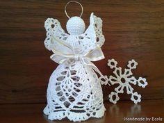 Handmade by Ecola & Dana Art - Aniołki 2014 Angel Crochet Pattern Free, Crochet Angels, Free Crochet, Free Pattern, Crochet Patterns, Angel Crafts, Xmas Crafts, Pinterest Crochet, Christmas Tree Decorations