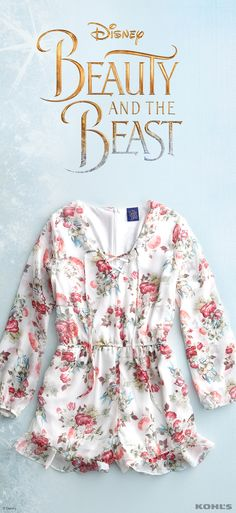 Slip into a short and sweet floral romper and pair with your favorite strappy sandals (we love flats for daytime and block heels for night) for a gorgeous look inspired by the iconic rose. Find this look and more for juniors in the new collection. Discover the enchantment of Disney Beauty and the Beast at Kohl's.