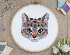 Cat Cross Stitch Pattern, Geometric Animals Cross Stitch, Cute Cat Embroidery, Cat Lady Gift, Kitten Wall Art, PDF Format, Instant Download