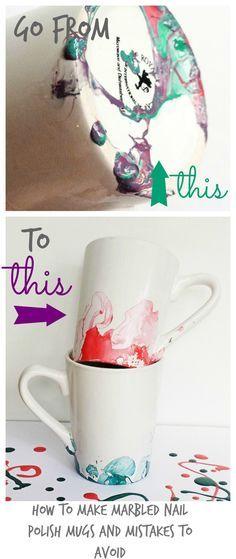 Marbled or Watercolor Nail Polish Mugs