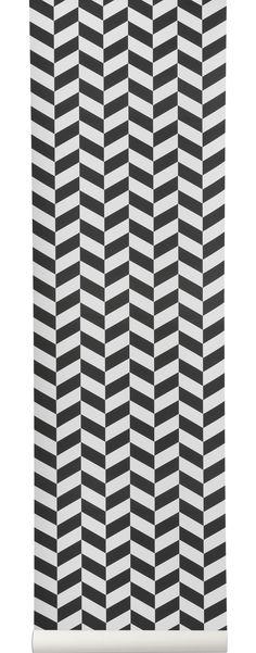 Papier peint Angle / 1 rouleau - Larg 53 cm Motifs noirs / Fond blanc - Ferm Living