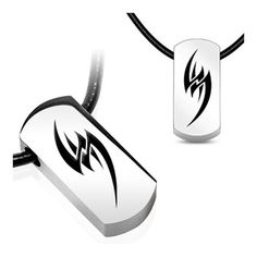 Stainless Steel Tag Pendant with Beveled Black Plated Tribal Fang