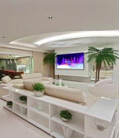 Sofás com aparadores - ótima opção para salas integradas!
