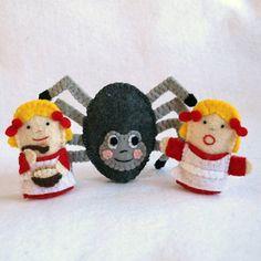 Little Miss Muffet felt puppet spider felt by KRFingerPuppets