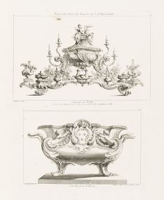 """Print, """"Design of Basin (or Cistern) with Royal Arms"""", 1748"""