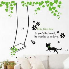 Cheap decorative decorative, Buy Quality cat wall stickers directly from China wall sticker Suppliers: swing trapeze cat wall stickers stencil plants leaves vinyl wallpaper decals house home bedroom living room DIY decor decoration Nursery Room, Living Room Bedroom, Home Bedroom, Bedroom Decor, Dandelion Flower, Cheap Wall Stickers, Cat Wall, Vinyl Wallpaper, Vinyl Art
