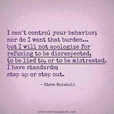 I won't tolerate it.