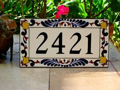 Custom Hand Painted Outdoor House Number Tile Address Plaque hand painted with Royal Blue or Slate Blue Ceramic House Numbers, Tile House Numbers, House Number Plaque, Pottery Houses, Ceramic Houses, Address Plaque, Address Signs, House Address, Address Numbers