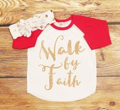 Walk By Faith Gold Glitter Shirt *ONLY* Baby Shower Gift Toddler Girl Top Sparkle Red Raglan Hipster Baby Clothes Tee Girls Top Christian