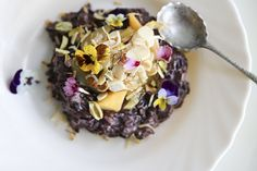 black rice sticky bircher pudding with paw paw. Via the Whole Daily.  Learn more about black rice at www.ForbiddenFoods.com.au