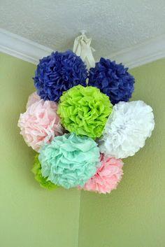 tissue paper pom pom chandelier