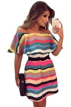 Colorful Stripes Ruffle Off Shoulder Skater Dress
