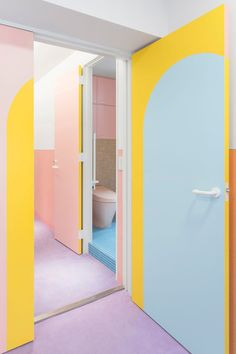 adam nathaniel furman has completed an apartment in tokyo's nagatacho district, instilling his colorful pop style throughout its interior spaces. Architecture Restaurant, Interior Architecture, Interior And Exterior, Interior Design, Wall Finishes, Textured Wallpaper, Pastel Colors, Colours, Memphis