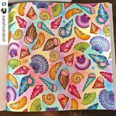 """'Seashells' - """"Lost Ocean"""" Finished Coloring Page - Johanna Basford"""
