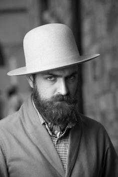 Matteo Gioli of SuperDuper Hats at Pitti Uomo 86 - Firenze