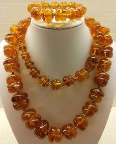 226.10gr VINTAGE HUGE  Real  Natural Genuine Baltic Amber Necklace + Bracelet  #Handmade #Necklace