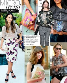 Microtrend: Animal Planet - Celebrity Style and Fashion from WhoWhatWear. Alexa chung. Miranda kerr. Prints.
