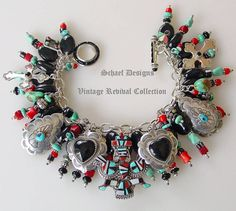 Schaef Designs Southwestern Charm Bracelet with Native American Charms Geek Jewelry, Jewelry Trends, Metal Jewelry, Charm Jewelry, Jewelry Crafts, Silver Jewelry, Fine Jewelry, Silver Ring, Silver Pendants