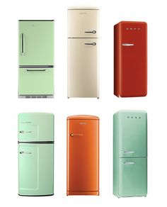 I guess these are technically appliances rather than furniture, but whatever. Vintage-style fridges in delicious colors!! I didn't know you could have non-ugly fridges. #kitchen