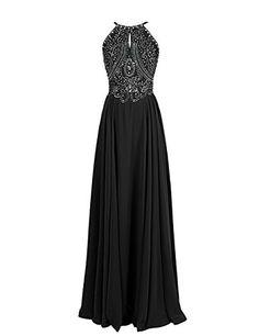 []  Dressystar Straps Sparkling Formal Gown Beading Prom Evening Dress Backless Size 14 Black []---