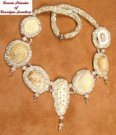 White Shell Bead Embroidered Necklace Beach Wedding.  Remind me to take neutral palette beads on my next trip to Hawaii and make something like this!  Love it!