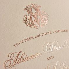 Rose gold foil custom monogram wedding invitations by ECRU Stationery & Design