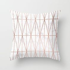 Modern geometric triangles faux rose gold pattern on white marble