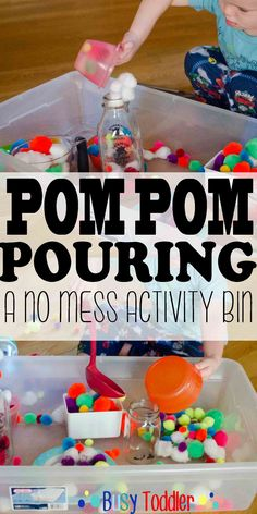 Pom Pom Pouring: a mess free transfer activity bin