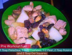 Pre-Workout Snack – Simply Taralynn: 1 Tbsp pistachios, 1 Tbsp cashews, 1/2 pear, 2 Tbsp raisins, 2 Tbsp Oat Squares