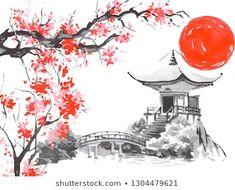 Japanese Ink Painting, Japanese Art Prints, Japan Painting, Japanese Artwork, Gravure Illustration, Japon Illustration, Cute Canvas Paintings, Canvas Art, Japanese Temple Tattoo