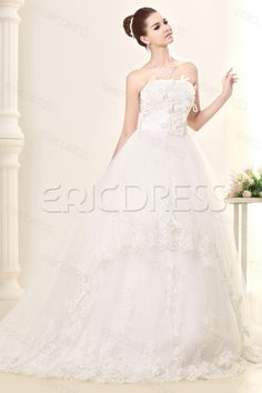 Awesome A-line Strapless Floor-Length Chapel Lace   Appliques Sandra s Wedding  Dress. e62afd498e16