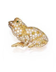 18 Karat Gold, Diamond and Emerald Brooch, Cartier | Lot | Sotheby's