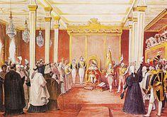 A Aclamação de Dom João VI como rei, em 1818, no Rio, em pintura de Jean-Baptiste Debret.
