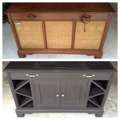 Old record player cabinet transformed into mini bar cabinet. Complete with hidden liquor storage on top, glass storage inside, and wine bottle storage on the side.