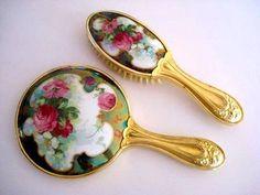 Art Nouveau hand mirror brush set with burgundy roses antique porcelain, vintage porcelain and celluloid backed hand mirror