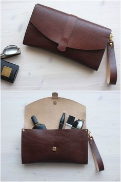 154006e29988 Brown leather clutch with a very rich texture and color from DIStories on  Etsy  cognac