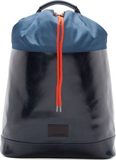 Hyper Mountain Sport: Fall 16:Krisvanassche Navy Leather Drawstring Backpack