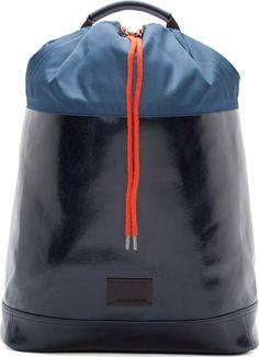 Hyper Mountain Sport: Fall 16:Krisvanassche Navy Leather Drawstring Backpack
