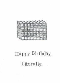 Happy Birthday Literally Card Books Literature by ModDessert