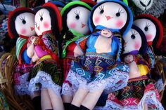 Indian (Mapuche) dolls with baby are a very popular souvenir for tourists visiting the market in Algemó, Puerto Montt.