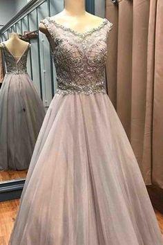Luxury beading long dress,gray tulle beading A-line prom dress