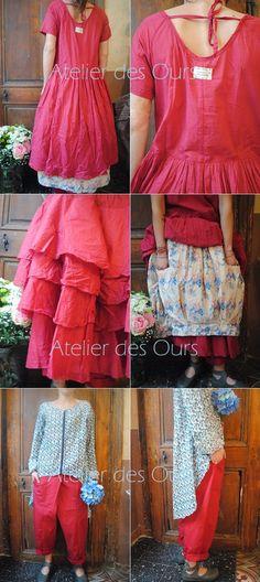 MLLE FRAMBOISE : Robe framboise, jupe à fleur, jupon en organdi, pantalon + chemise fleurs  EWA IWALLA