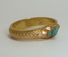 Rare Victorian Hinged Snake Ring in 20K Yellow Gold from beaconhilljewelers on Ruby Lane