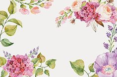 Posters Floral watercolor background