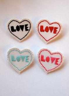Geometric heart brooch with love