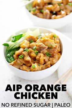 This AIP Orange Chicken is a delicious AIP version of Chinese takeout. It's made with whole ingredients, healthy oils and zero refined sugar. It tastes great and much better for you! Paleo Food List, Paleo Meal Plan, Paleo Chicken Recipes, Paleo Recipes, Asian Recipes, Whole Food Recipes, Dinner Recipes, Ethnic Recipes, Turkey Recipes