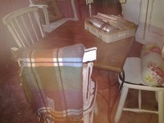 MIX N MATCH old wood and iron PUB Table with PAINTED SHABBY CHAIRs all vintage finds!!