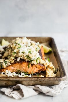 Blackened Salmon with Mexican Style Street Corn - A delicious and juicy blackened salmon filet topped with creamy Mexican style street corn. This is an easy way to feed the family or a crowd of hungry friends! Salmon Recipes, Fish Recipes, Seafood Recipes, Mexican Food Recipes, Dinner Recipes, Cooking Recipes, Healthy Recipes, Seafood Dishes, Healthy Dinners