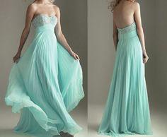 strapless sweetheart empire waist beaded bust mint long chiffon evening dress